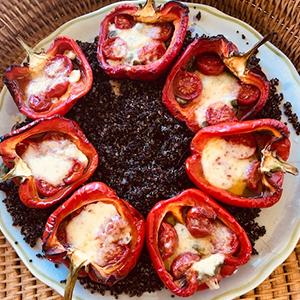 Stuffed Peppers on Quinoa