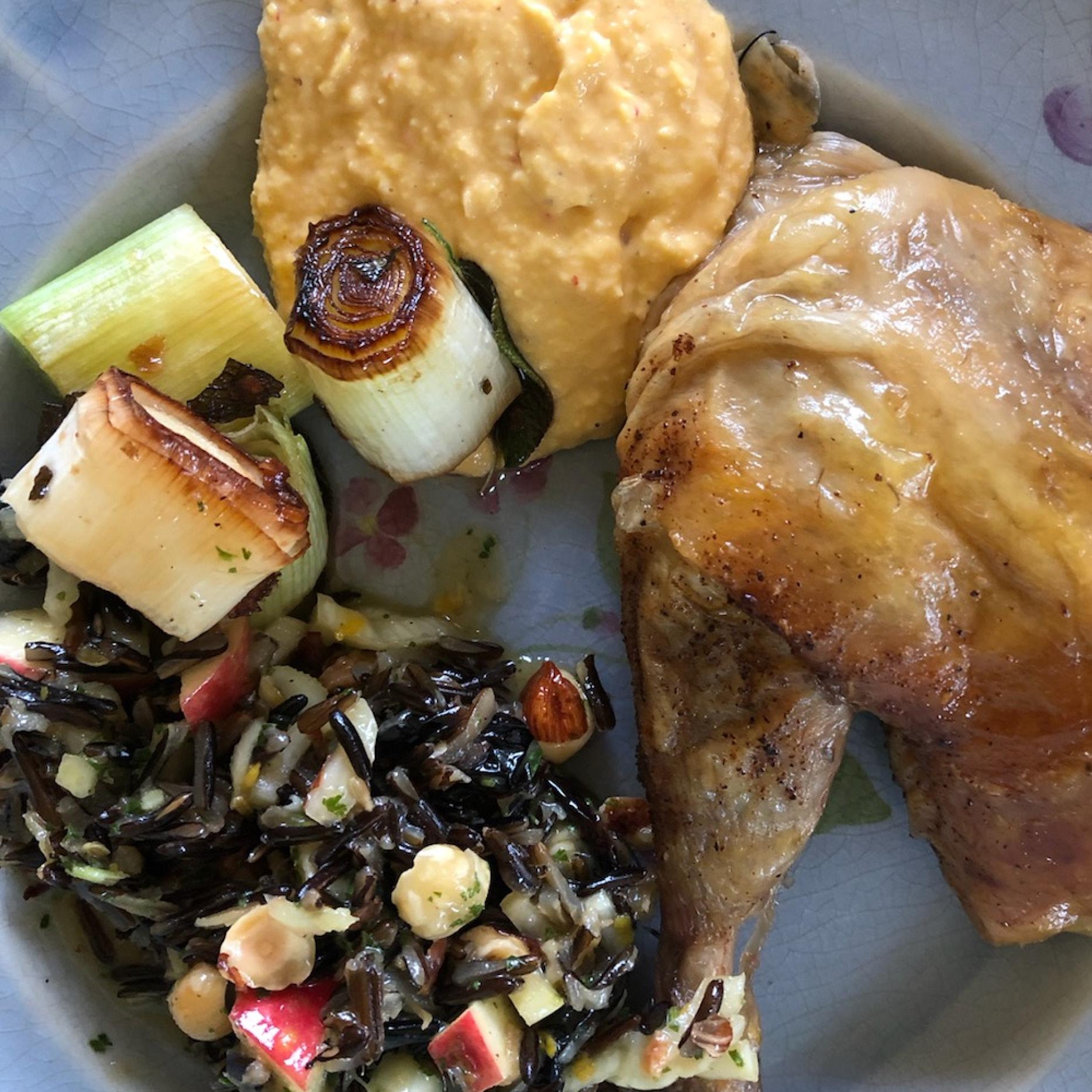 Wild rice salad and Sweet corn sauce